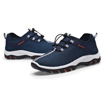 EcoSport Men Textile Breathable Outdoor Hiking Shoes (Dark Blue)