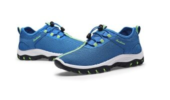 EcoSport Men Textile Breathable Outdoor Hiking Shoes (Light Blue)