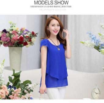 c6478eb0071 Elegant Summer Plus Size Women Chiffon Blouses Shirts O Neck Short Sleeve  Double Irregular Solid Fashion Casual Ladies Tops Blusas (Color  Royal Blue)