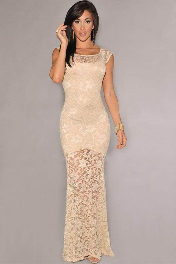 Dinner Party Dress Part - 23: Euro Lace Fish Tail Dinner/Party Dress (Beige) | Lazada Malaysia
