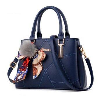 European Fashion Ladies Casual Shoulder Messenger Bag   Tote Bag   Backpack   Set Bag Collection - Dark Blue
