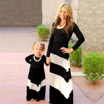 Harga Family Look Matching Clothes Cotton Stripe Mother DaughterDresses(Mom)