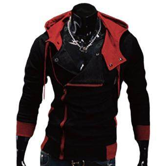 Harga Fancyqube explosion of Assassin s Creed sweater oblique zipperhooded jacket Black Red