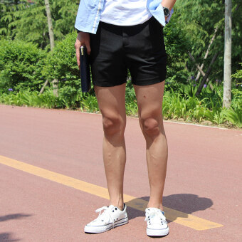 Fashion casual shorts male summer Thin Section Three pants whitethree points shorts male tide Korean-style Slim fit Super shorts(Black)