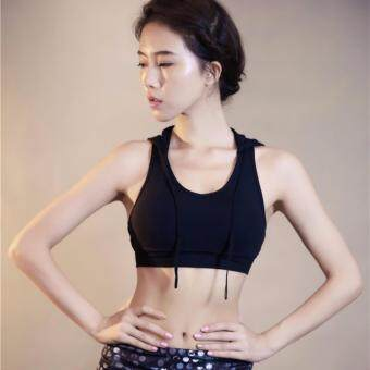 Fashion Hooded sport bra quick dry and breathable / Black - 2