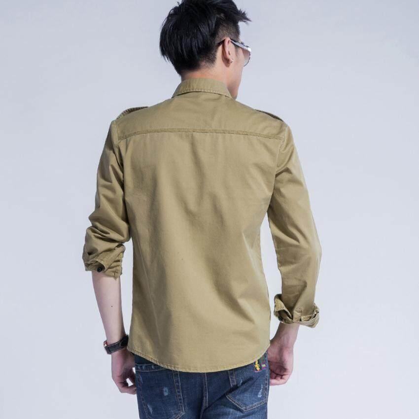 ... Fashion Pria Warna Solid Kemeja Musim Semi Musim Gugur Kasual Lengan Panjang Korea Baju Berkancing-