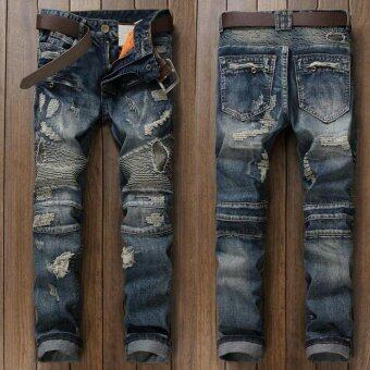 Fashion Mens Ripped Biker Jeans Brand Designer Distressed Vintage Washed Denim Pants With Hole Patch Pleated