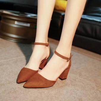 Harga Fashion Square-Heel-Shoes Low Heel Dress Shoes LadiesSize:34-39(Brown)
