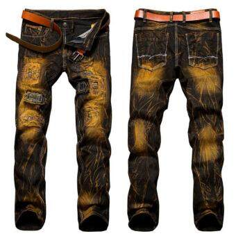 Harga Fashion Vintage Mens Ripped Jeans Pants Slim Fit Distressed Hip HopDenim Joggers Male Novelty Streetwear Jean Trousers- Tan