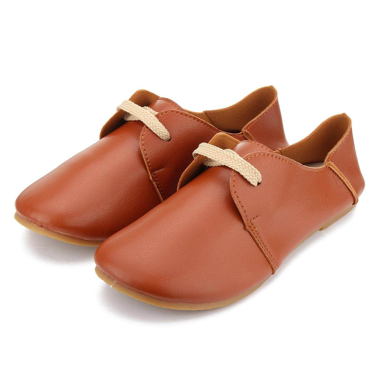 Fashion Women Flats Shoes Lace Up Comfort Shoes Casual Leather Oxfords Loafers - intl