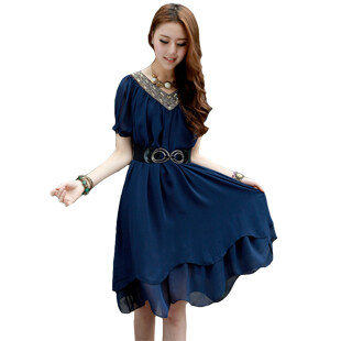 Harga Fat mm summer loose Slimming effect long section chiffon (Darkblue)