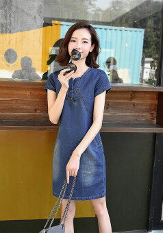 Harga Female Long section Plus-sized Slimming effect denim A-line dressKorean-style denim dress (Dark blue)