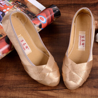 Harga Female shoes shallow mouth flat breathable soft-soled work shoesShoes (Golden) (Golden)