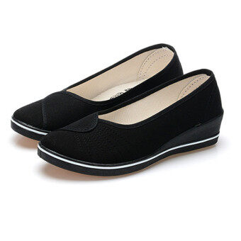 Female with slope Comfortable Soft Work shoes Beauty Dance Canvasshoes Black - 2