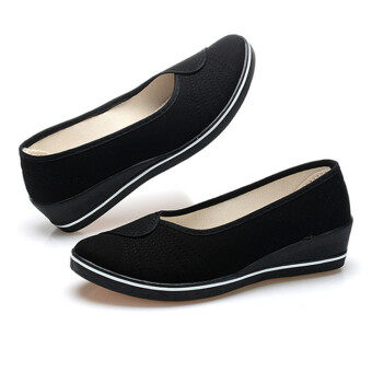 Female with slope Comfortable Soft Work shoes Beauty Dance Canvasshoes Black - 3