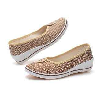 Female with slope Comfortable Soft Work shoes Beauty Dance Canvasshoes Coffee - 4