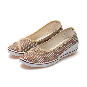 Female with slope Comfortable Soft Work shoes Beauty Dance Canvasshoes Coffee - 2