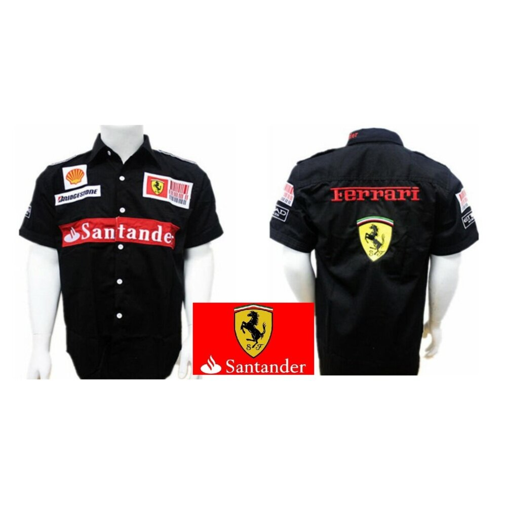 choose authentic new release 100% authentic Ferrari Racing Team Black Color F1 Shirt Smart Outlook Santander Shell