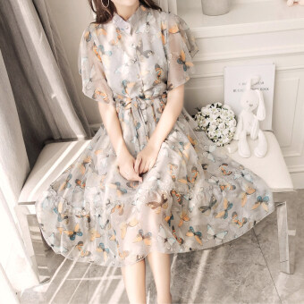 Harga Floral retro chiffon female New style fairy skirt dress