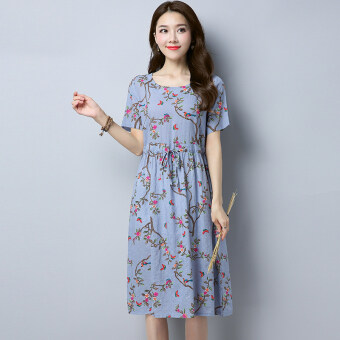 Floral waist lace round neck short-sleeved dress skirt (Gray) (Gray)