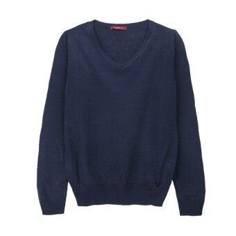 F.O.S NAVY & NAVY WOMEN'S BASIC NAVY V NECK SWEATER