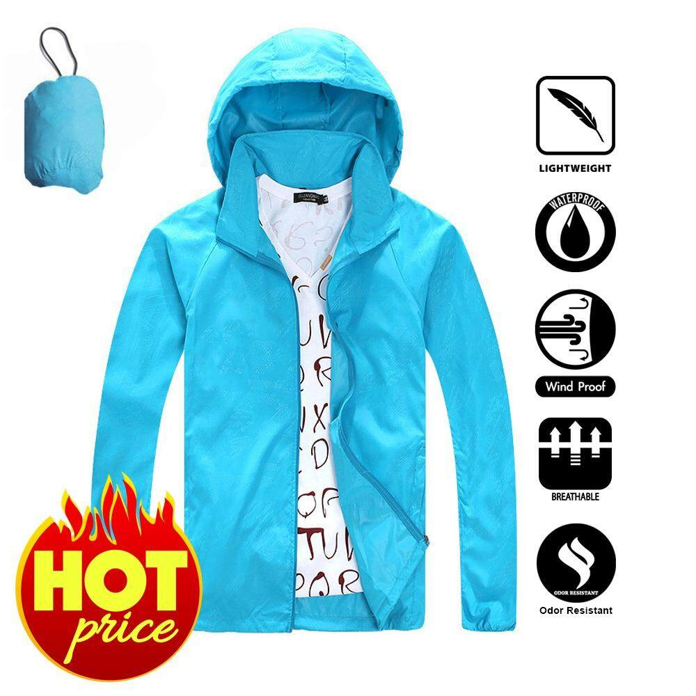 [ FREE SHIPPING ] Men And Women Protector Waterproof Windproof Single Layer Windbreaker For Camping And Hiking (Sky Blue)
