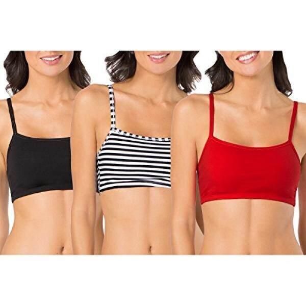 Buah dari Loom Wanita Katun Sweter Tanpa Kancing Beha Olahraga (Kemasan 3), strip Ketat Garis/Hitam/Merah Seksi, 36-Internasional