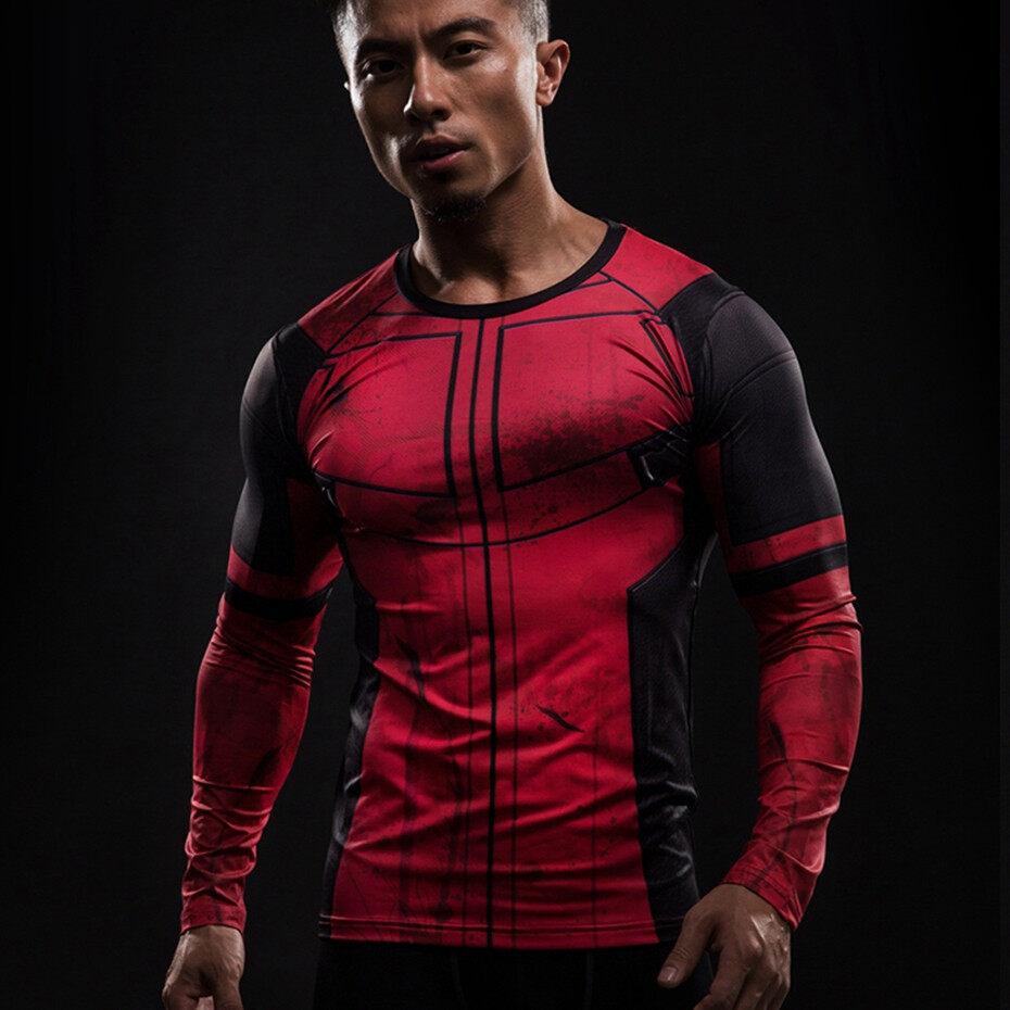 Menyenangkan Deadpool 3D Dicetak Kaus Pria Cosplay Kostum Tampilan Kompresi Lengan Panjang Kemeja Atasan Kostum Halloween