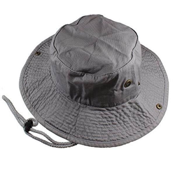 Gelante Gelante 100% Katun Dicuci dengan Batu Safari Booney Topi Matahari 1910-Grey-S/M-Internasional