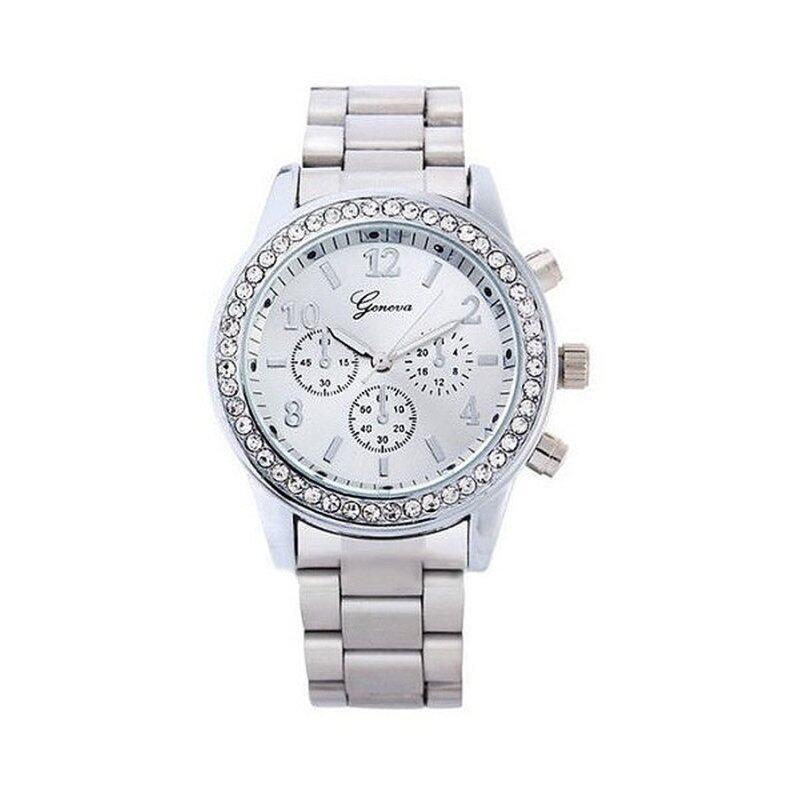 Geneva Chronograph Elegant Womens Watch Silver Malaysia