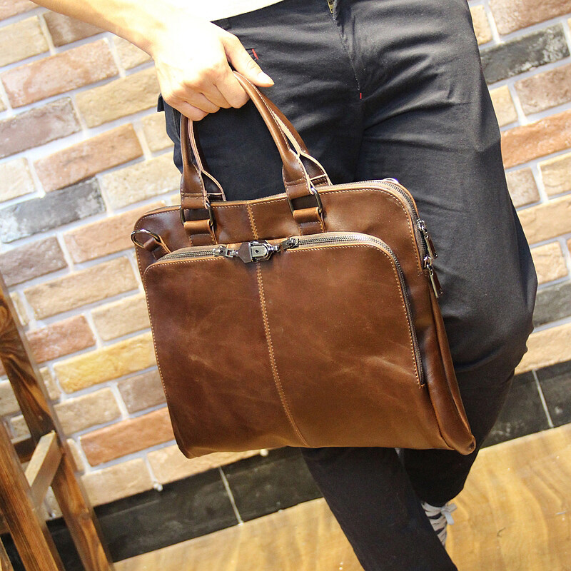 Genuine Cow Leather Business Bags Men's bag diagonal bag shoulder bag handbag men's casual bag big bag - intl