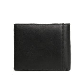 Genuine Leather Men Wallets Leather Man Short Wallet Vintage Black - 2