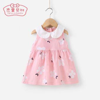Harga Girls female baby 235 summer 01-year-old baby dress (Pink)