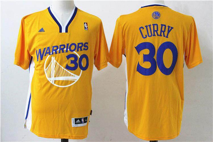 8dec541cfdc Gold Basketball Jersey Stephen Curry  30 Offical With Sleeves Men s NBA  Golden State Warriors -