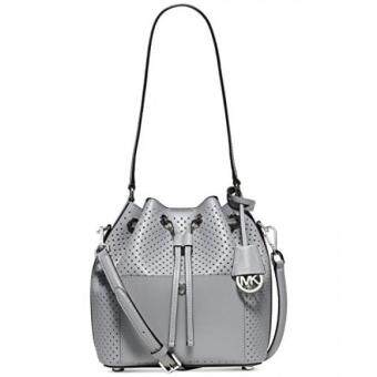 Harga GPL/ Michael Kors Greenwich Medium saffiano leather Bucket Bag Dove/silver/ship from USA