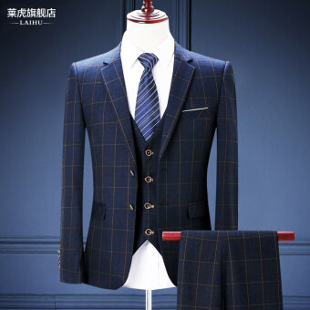 Groom Korean-style Slim fit wedding dress plaid men's suit (001) (001)