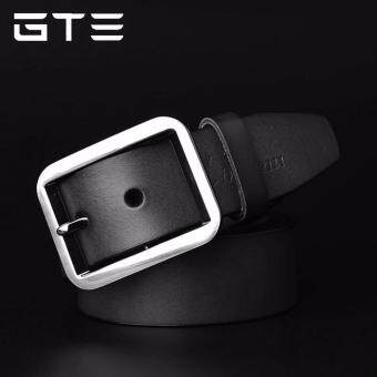 GTE Casual Cowhide Leather Belt (Black) - FREE Leather Hole Punch