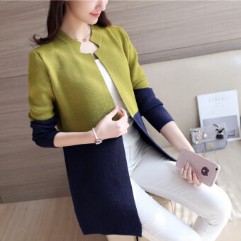 Harga Han Banmao long section Spell color knit shirt (Green) (Green)