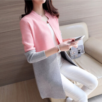 Harga Han Banmao long section Spell color knit shirt (Pink) (Pink)