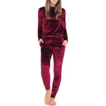 Harga Hang-Qiao Long Sleeve Velvet Sport Women Tracksuits (Burgundy)