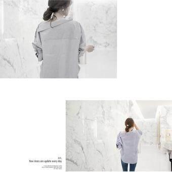 Hang-Qiao Women Striped Blouse Oblique Collar Off Shoulder Full Sleeve Shirt (Light Blue) - 4