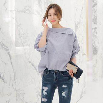 Hang-Qiao Women Striped Blouse Oblique Collar Off Shoulder Full Sleeve Shirt (Light Blue) - 3