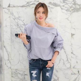Hang-Qiao Women Striped Blouse Oblique Collar Off Shoulder Full Sleeve Shirt (Light Blue) - 2