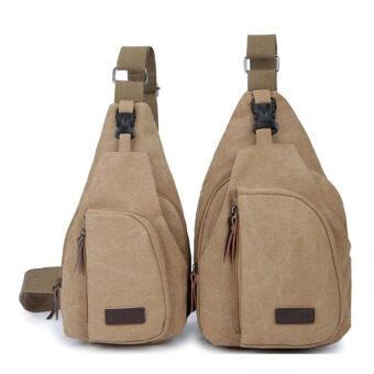 Hanyu Canvas Mens Satchel Shoulder Bag Chest Pack Crossbody SportsKhaki()( Intl)