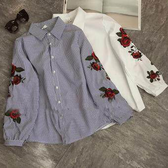 Hanyu Korean Style Women Casual Long Sleeve Blouse Floral Embroidered Shirt Striped Tops (Blue) - 5
