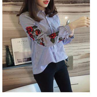 Hanyu Korean Style Women Casual Long Sleeve Blouse Floral Embroidered Shirt Striped Tops (Blue) - 3