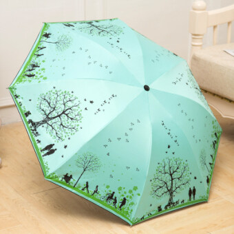 Happy tree anti-UV creative umbrella small fresh Folding Umbrellasun umbrella rain or shine dual SUN umbrella three folding umbrella(Lake green-happy tree)