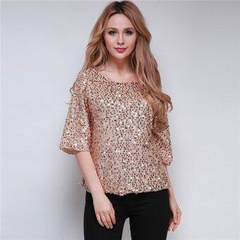 Harga HengSong S-3XL Sequin Loose Casual Lady T-Shirt Middle Sleeve TopsBlouse Gold