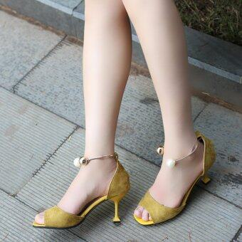 HengSong Summer Ladies Fashion Shallow Mouth Fish Mouth High-heeledShoes Pearl buckle Sandals(Yellow)