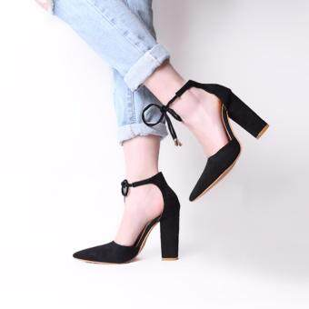 HengSong Women's Summer Fashion Pointed High-heeled Shoes Lady Shallow Mouth SuedeThick Heel Sandals(Black)